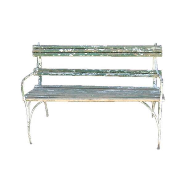 Green Slatted Garden Bench