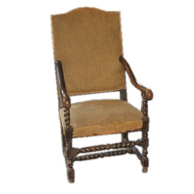 Vintage Louis XIII Highback Armchair, c. 18th Century