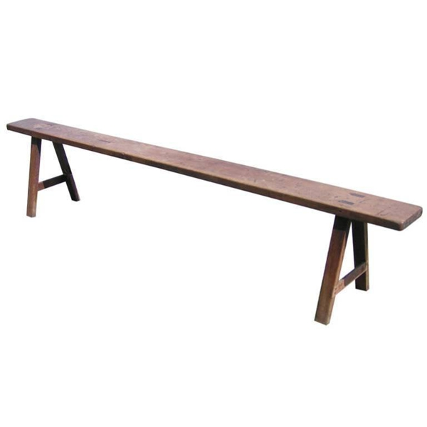 19th Century Low Wooden Bench from Sweden