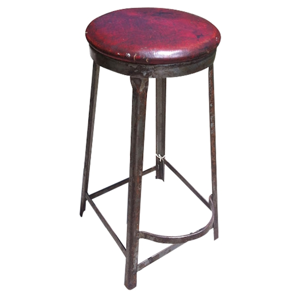 Vintage Industrial Red Top Stool from Royal Metal Co.