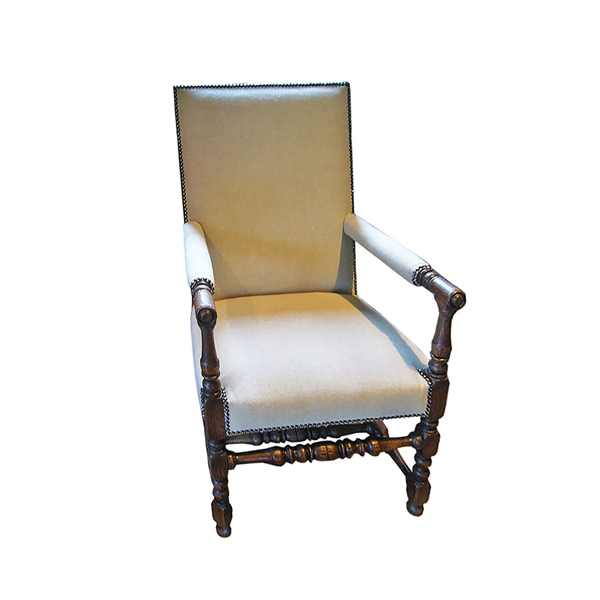 Vintage Upholstered Renaissance-Style Chair, c. 19th Century