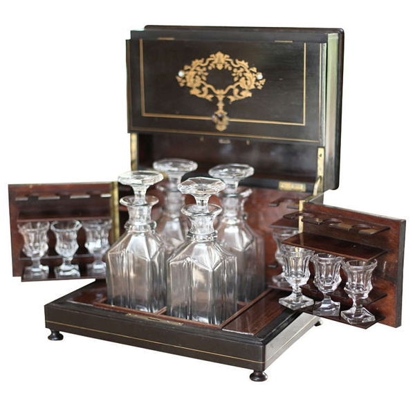 "Crystal and Rosewood ""Coffre à Liqueur"" Napoleon III Port Box"