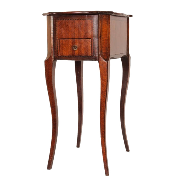 Petite Marquetry Side Table, c. Late 19th Century