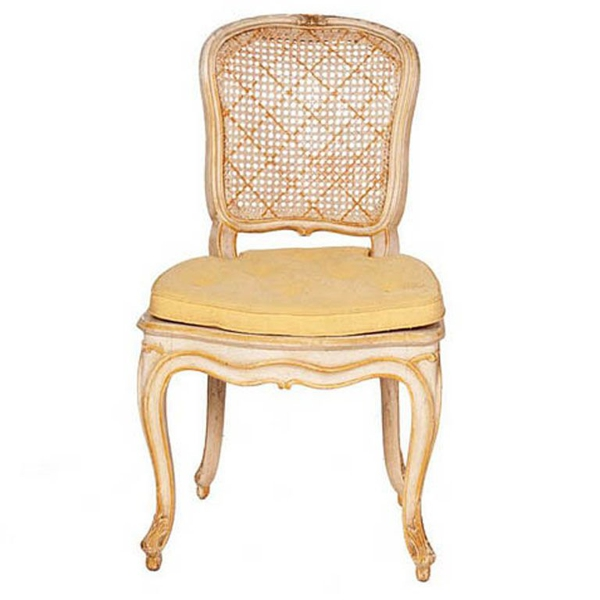 Vintage White & Yellow Caned Chairs