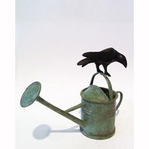 Green Watering Can Crow