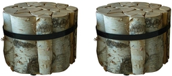 Pair of Gathered Cut Birch Side Tables