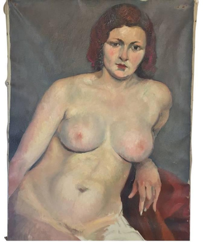 Vintage Nude Oil on Canvas Painting by Savignol, c. 1930