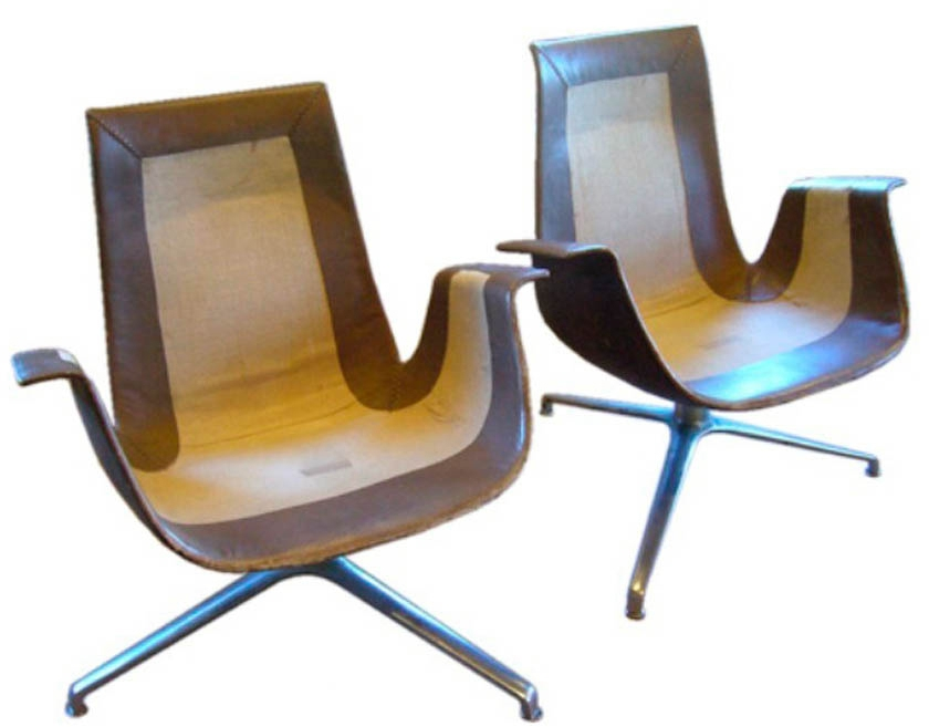 Pair of FK Leather Bucket Chairs, France, 1964