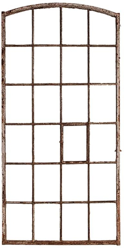 Vintage Painted Metal Window Frame, France, circa 19th Century