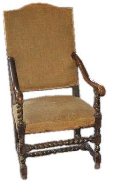Vintage Louis XIII Highback Armchair, c. 18th Century