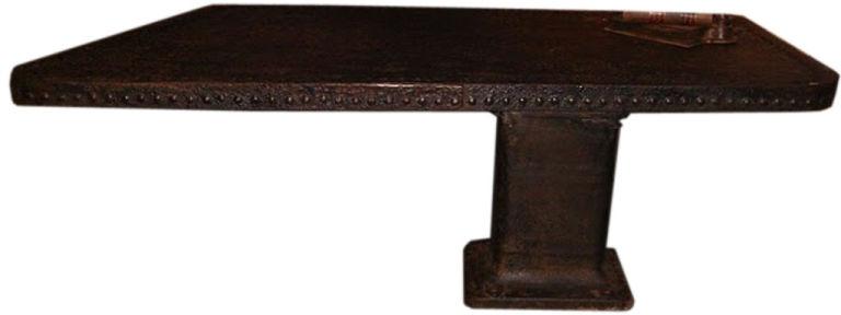 Vintage Riveted Pedestal Desk, Belgium, c. 1900