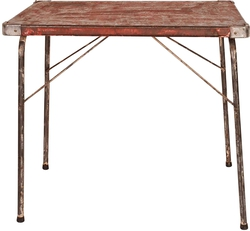 Vintage Folding Red Campaign Table, France, circa 1950
