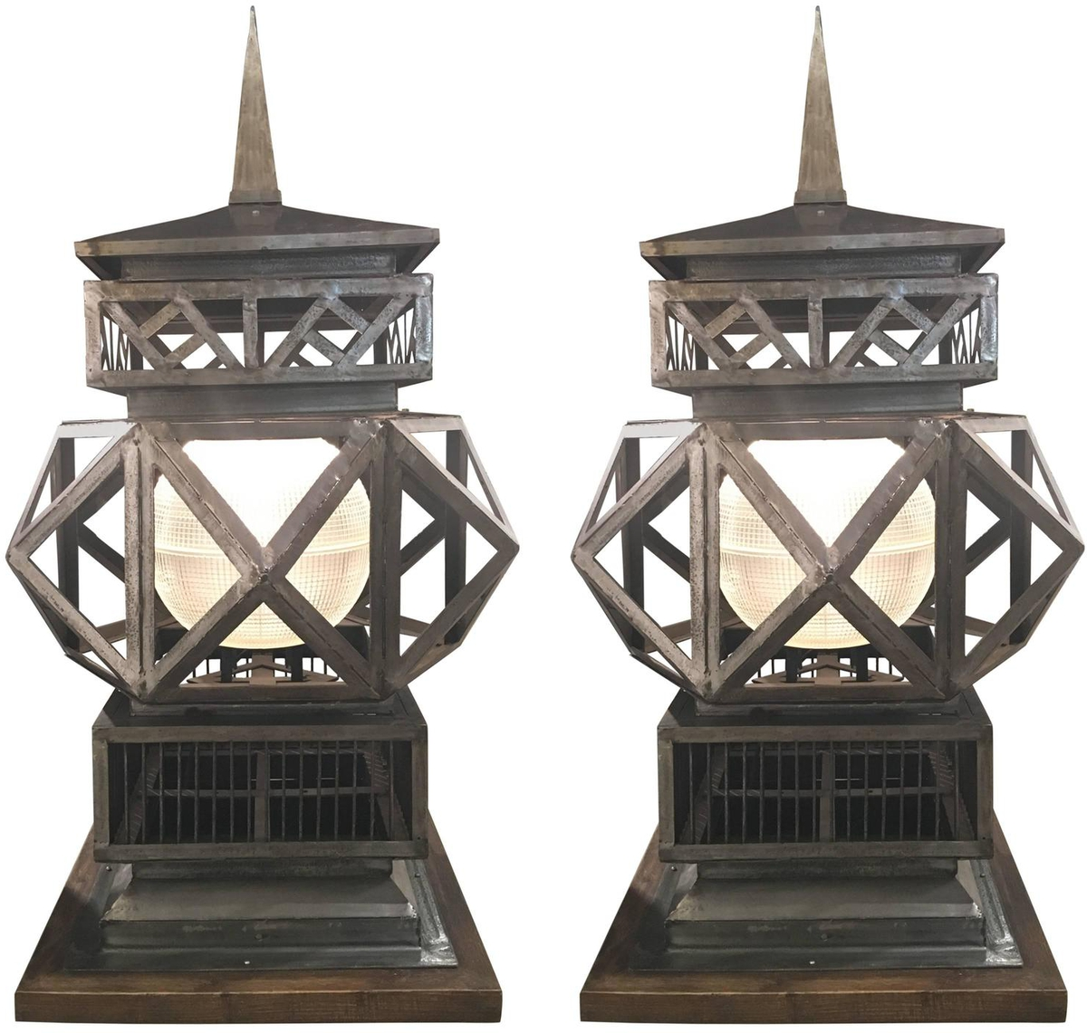 Pair of Large-Scale Vintage Welded Lanterns