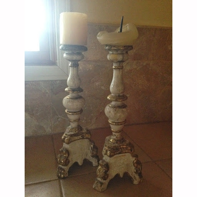 Italian Candlestick with Gold Gilt Accents - Pair