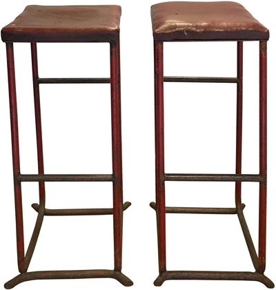 Vintage French Red Leather Stools, circa 1970s