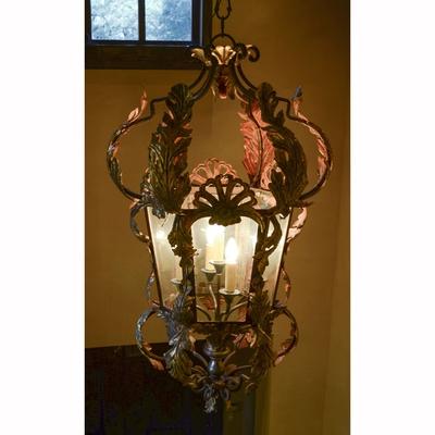 Large Louis XV Style Wrought Iron Hall Lantern