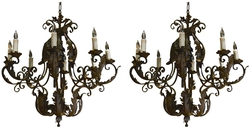 Pair of 1930s Italian Rococo Style Basket Form Tole and Iron Chandeliers