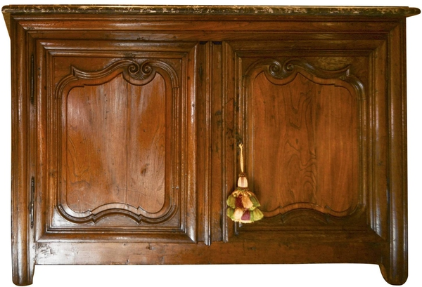 Louis XIV Walnut Buffet, with Marble Top and Dropped Sink