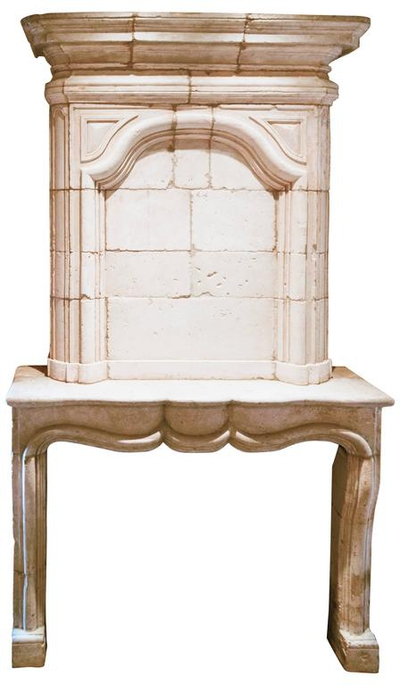 Antique Regence Limestone Fireplace with Trumeau, circa 18th Century