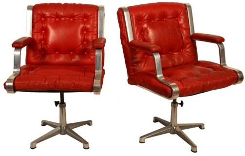 Chrome and Leather Red Chair