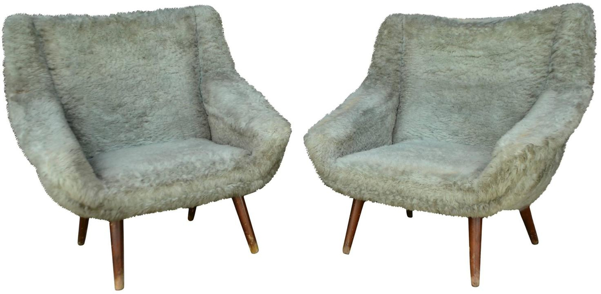 Vintage Gray Faux Fur Chairs