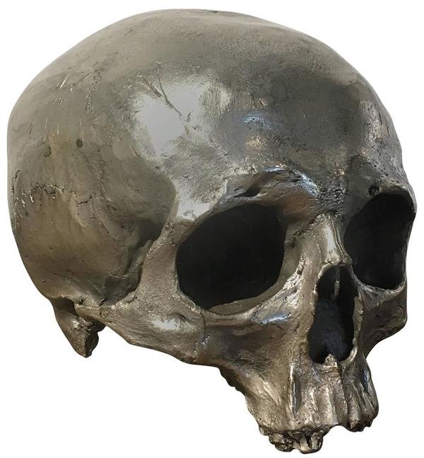 Cast Bronze Silver Skull