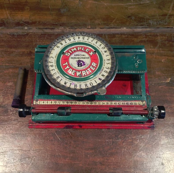 Vintage Simplex Model B Typewriter with Special Demonstrated Box