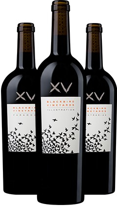 Blackbird Vineyards' 2017 Paramour possesses both sensuality and commanding structure. Cabernet Franc and Merlot have a fragile but irresistible chemistry that flourishes when climate, soils, and seasons align. Paramour reveals the passion and harmony embodied in this love affair.  Blackbird Vineyards' 2017 Illustration represents the core of Blackbird Vineyards. Every element of its multi-faceted wine portfolio draws inspiration from this principally Merlot composition. Illustration challenges the notion that Cabernet Sauvignon is the only age-worthy red wine crafted in Napa Valley.  Blackbird Vineyards' 2017 Contrarian flies in the face of our own conventions. Emboldened by Cabernet Sauvignon, Contrarian possesses Blackbird's signature aromatic richness alongside bold tannins that draw a striking contrast to the rest of the flock.