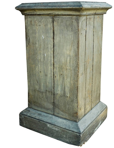 Vintage Painted Wooden Pedestal, c. Early 20th Century