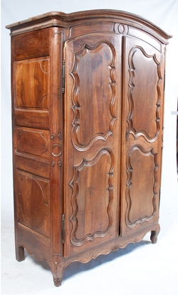 French Armoire with Carving, Patina